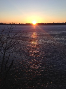 Sunrise over frozen Lake Harriet